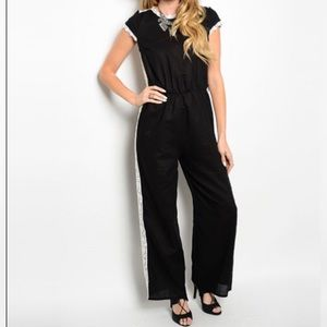 Pants - Black Ivory Crochet Detail Jumpsuit